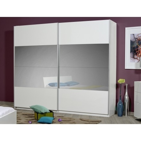 White Gloss Mirrored Wardrobes Within 2018 Optimus Large White Gloss Wardrobe With Sliding Doors And Mirror (View 14 of 15)