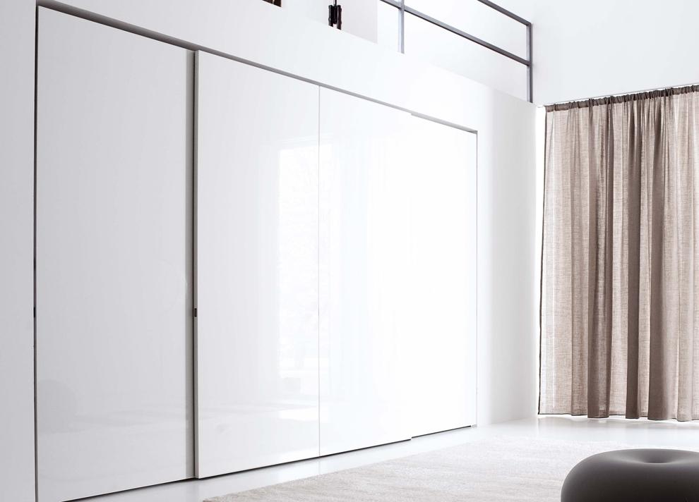 White Gloss Sliding Wardrobes In Popular Jesse Plane Sliding Door Wardrobe – Jesse Wardrobes At Go Modern (View 6 of 15)