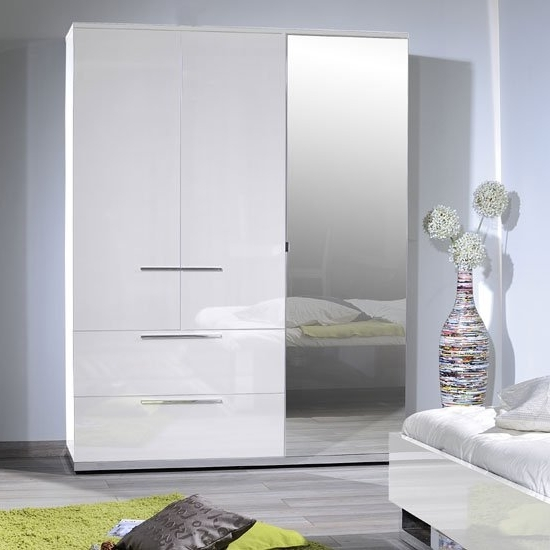 White High Gloss Finish 3 Door Wardrobe With Mirror Intended For Popular White Gloss Mirrored Wardrobes (View 9 of 15)
