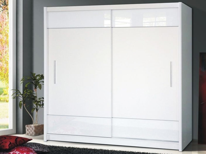 White High Gloss Sliding Wardrobes Within Preferred 7 Day Money Back Guarantee!**  Tetra Black High Gloss Sliding (View 15 of 15)