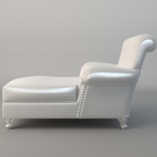 White Leather Chaises Throughout Well Known White Leather Chaise Chair 3D (View 14 of 15)
