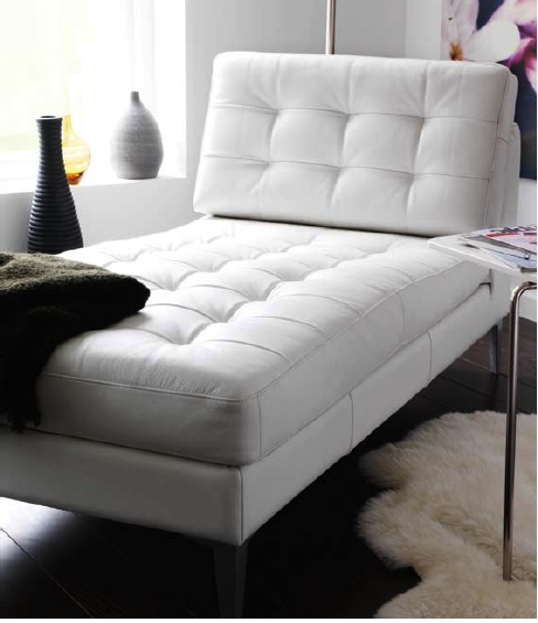 White Leather Karlstad Ikea Chaise Lounge With Metal Legs Regarding Best And Newest Ikea Chaise Lounges (View 15 of 15)