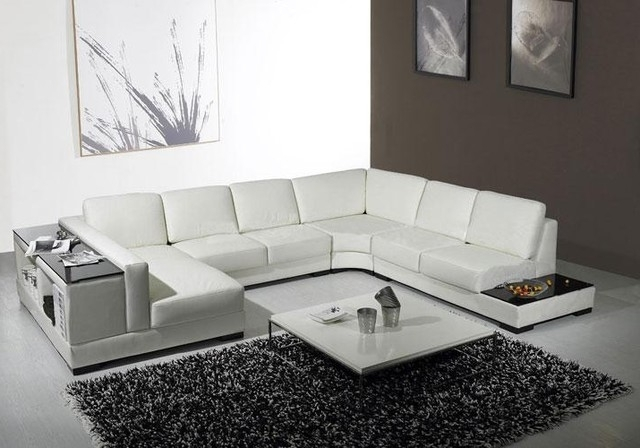 White Leather U Shaped Sectional Sofa With Storage – Modern Within Current Modern U Shaped Sectionals (View 9 of 10)
