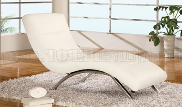 White Leather Upholstery Contemporary Chaise Lounge With Famous White Leather Chaise Lounges (View 15 of 15)