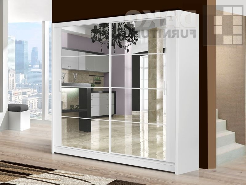 White Mirrored Wardrobes For Popular Wardrobe Dakota White – Dako Furniture (View 11 of 15)