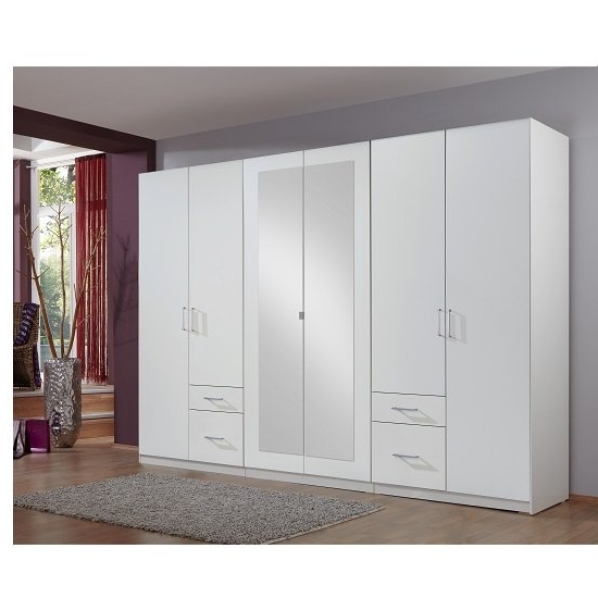 White Mirrored Wardrobes In Most Popular Fresh Wardrobe White 4 Doors 2 Mirror Doors 4 Drawers  (View 12 of 15)