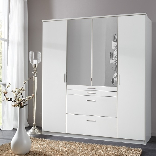 White Mirrored Wardrobes Regarding Widely Used Alberta Mirrored Wardrobe In Alpine White With 4 Doors (View 14 of 15)