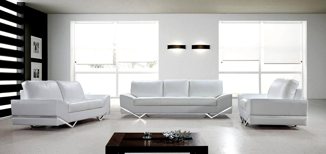 White Modern Sofas In Most Current White Modern Sofa Set Vg  (View 8 of 10)