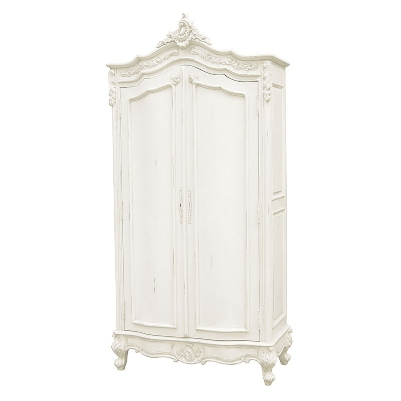 White Painted French Style Armoire Intended For Armoire French Wardrobes (View 14 of 15)