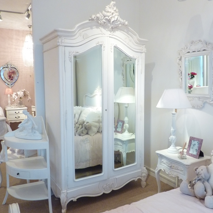 White Shabby Chic Wardrobes With Regard To Recent Bedroom : Lovely Chic Bedroom With Small White Bedside Table And (View 15 of 15)