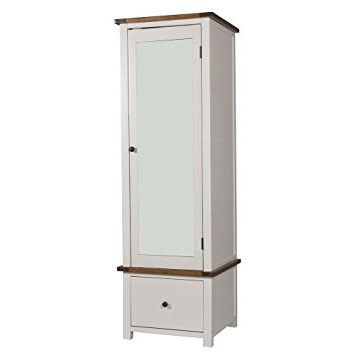 White Single Door Wardrobes Pertaining To Most Recently Released Aintree Single Wardrobe – 1 Door, 1 Drawer – Mirrored Door – Pine (View 2 of 15)