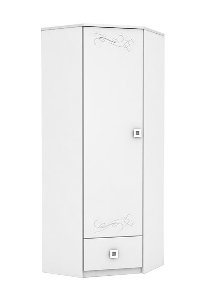 White Single Door Wardrobes With Preferred White Tattoo – Children's Single Door Corner Wardrobe (View 13 of 15)