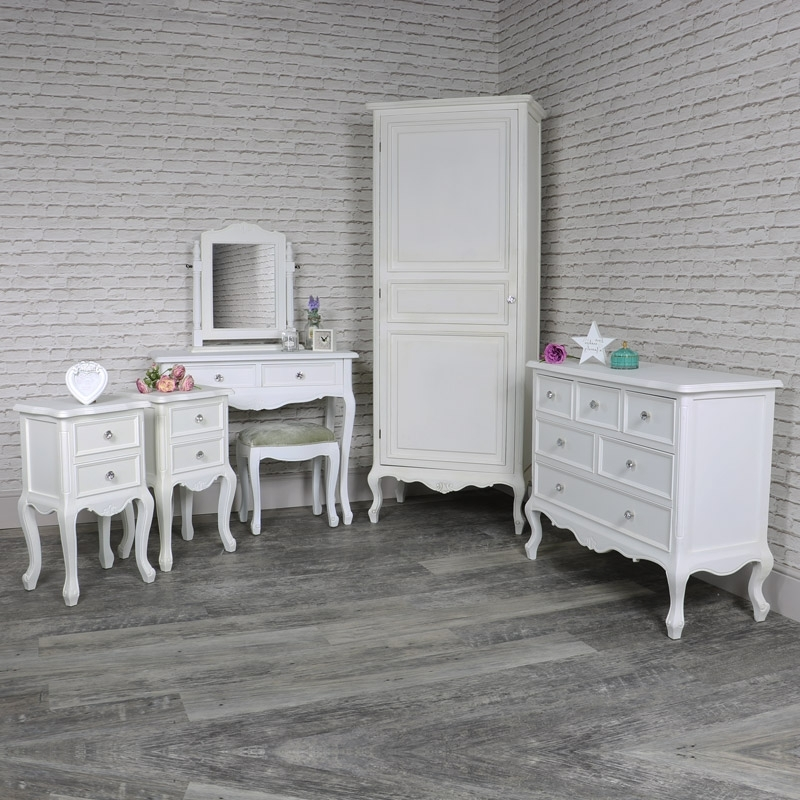 White Single Wardrobe, Dressing Table Set, Pair Of Bedsides And For Most Recently Released Black And White Wardrobes Set (View 15 of 15)
