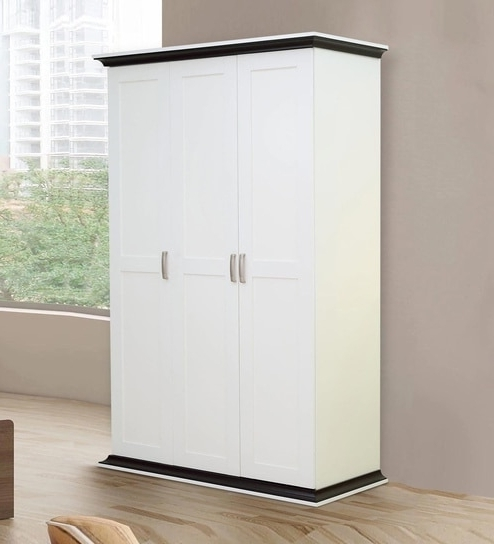 White Three Door Wardrobes Inside 2017 Buy Akikio Three Door Wardrobe In Walnut And White Finish (View 9 of 15)
