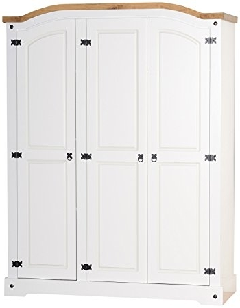 White Three Door Wardrobes Inside Newest Seconique Corona 3 Door Wardrobe – White/distressed Waxed Pine (View 10 of 15)