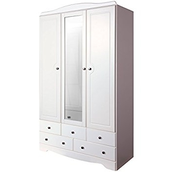 White Three Door Wardrobes Pertaining To Preferred Scandi 3 Door, 5 Drawer Wardrobe With Mirror In White: Amazon (View 13 of 15)