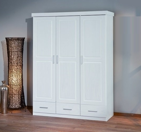 White Three Door Wardrobes With Famous Julio White 3 Door Wardrobe 3 Drawers 21062 Furniture In (View 14 of 15)