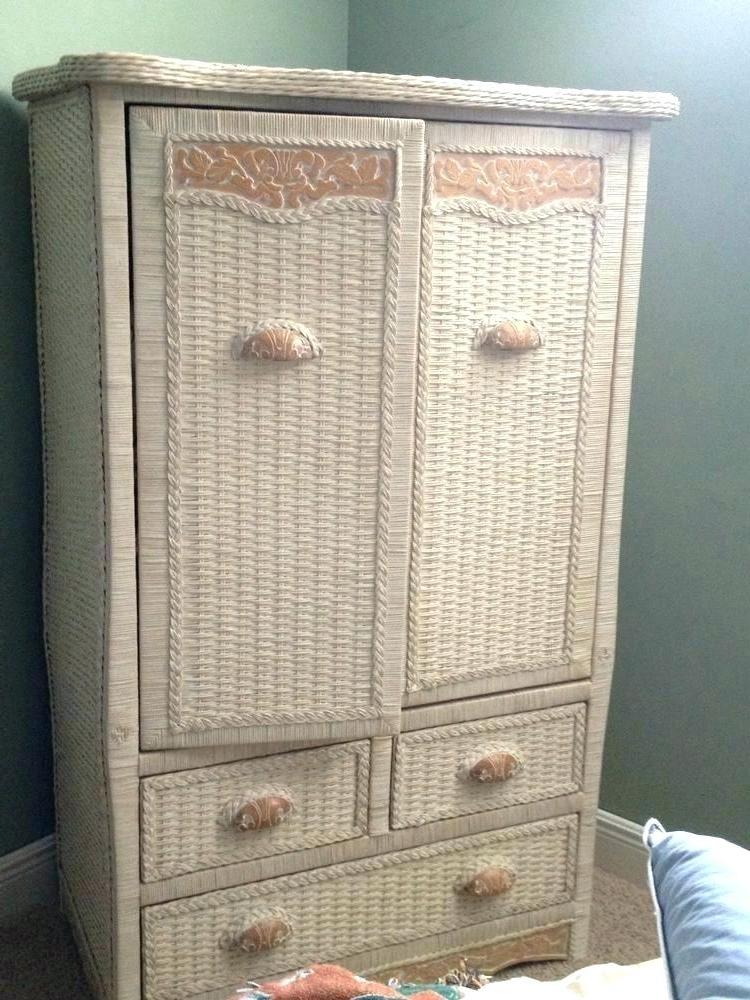 White Wardrobe Armoire – Processcodi With Newest White Wicker Wardrobes (View 10 of 15)