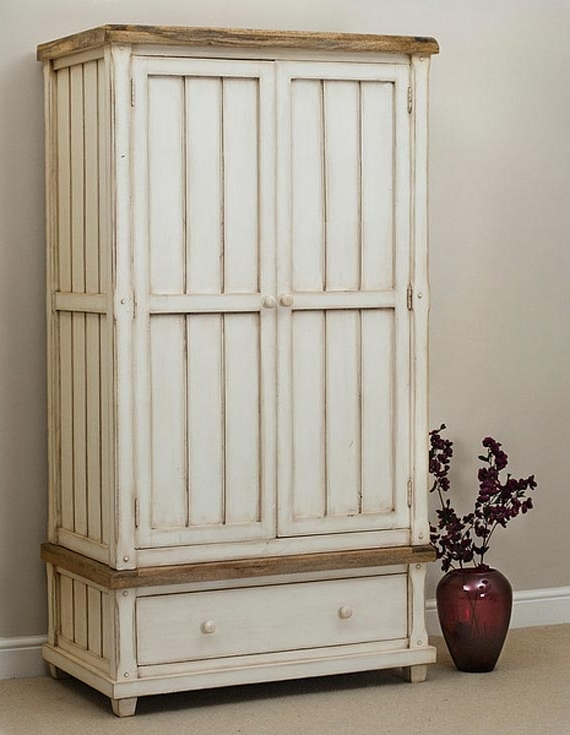 White Wardrobe With Wood Trim (View 14 of 15)