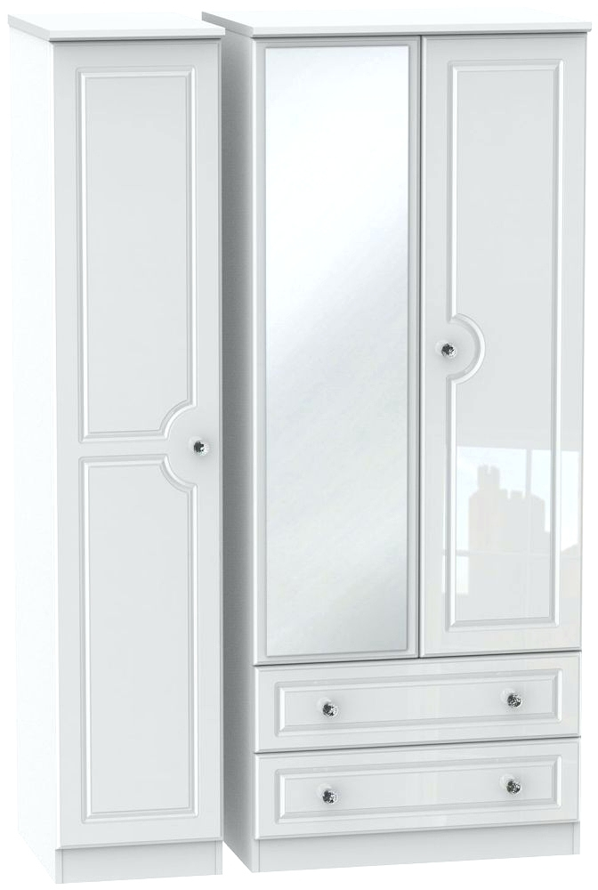 White Wardrobes With Drawers And Mirror Intended For Famous Wardrobes ~ High Gloss Single Wardrobe High Gloss White Wardrobe (View 13 of 15)