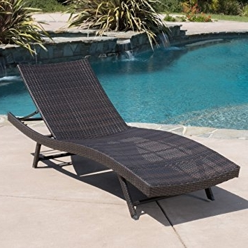 Wicker Chaise Lounge Chairs For Outdoor Regarding Well Known Amazon: Eliana Outdoor Single Brown Wicker Chaise Lounge (View 15 of 15)