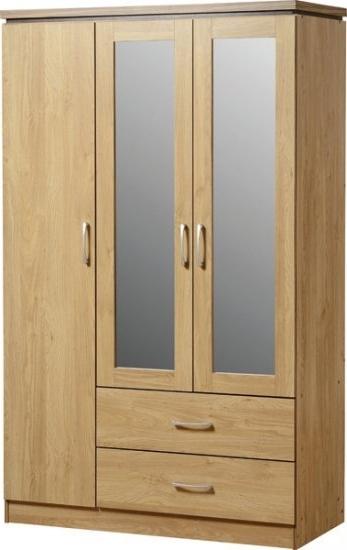 Widely Used 3 Door Mirrored Wardrobes Inside 3 Door 2 Drawer Mirrored Wardrobe – Oak (View 15 of 15)