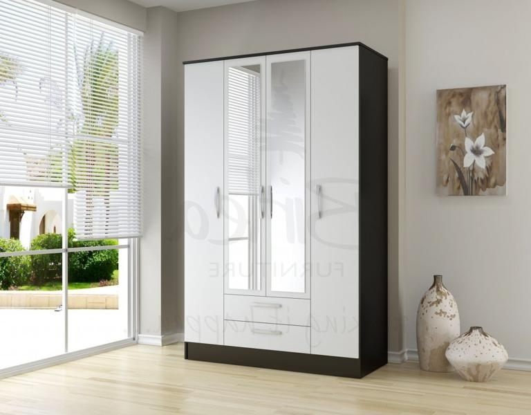 Widely Used Birlea Lynx Black And White High Gloss 4 Door 2 Drawer Wardrobe Pertaining To