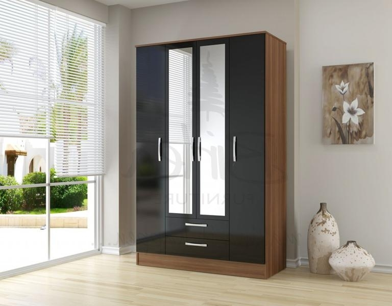 Widely Used Black High Gloss Wardrobes Intended For Birlea Lynx Black High Gloss And Walnut 4 Door 2 Drawer Wardrobe (View 12 of 15)