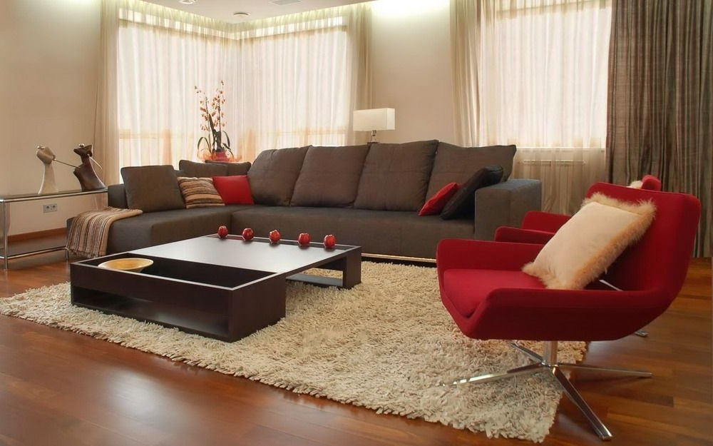 Widely Used Brown Sofa And Red Chairs In A Modern Living Room Interior Design Pertaining To Brown Sofa Chairs (View 9 of 10)