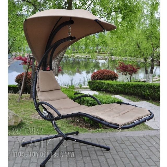 Widely Used Chaise Lounge Swing Chairs Inside Hanging Chaise Lounger Chair Arc Stand Air Porch Swing Hammock (View 15 of 15)