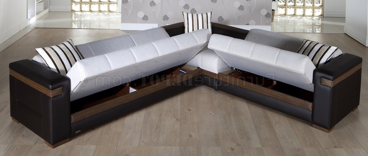 Widely Used Convertible Sectional Sofa Fabric Dark Leatherette Convertible With Convertible Sectional Sofas (View 10 of 10)