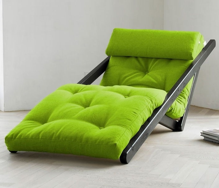 Widely Used Green Chaise Lounge Chairs Pertaining To Figo Futon Chaise Lounge With Wenge Frame – Unfinished Man (View 5 of 15)