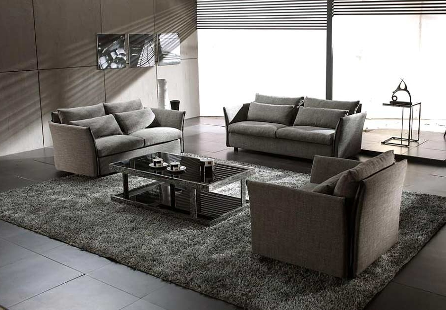 Widely Used Grey Modern Contemporary Fabric Sofa Set Vg Vip (View 10 of 10)