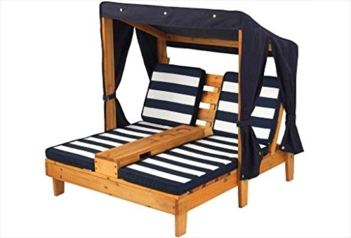 Widely Used Kidkraft Double Chaise Lounges Intended For Chairs Outdoor Double Chaise Lounge Navy White Canopy Pool Outdoor (View 14 of 15)