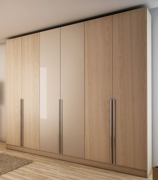 Widely Used Manhattan Comfort 34163 4 Drawer Eldridge 6 Door Wardrobe In Oak With Regard To 6 Door Wardrobes Bedroom Furniture (View 15 of 15)