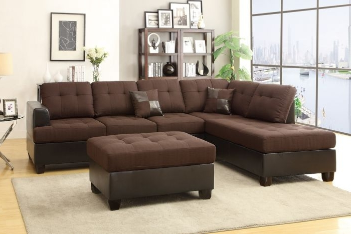 Widely Used Poundex F7602 3 Pcs Chocolate Reversible Sectional Sofa With Regard To Chocolate Sectional Sofas (View 10 of 10)