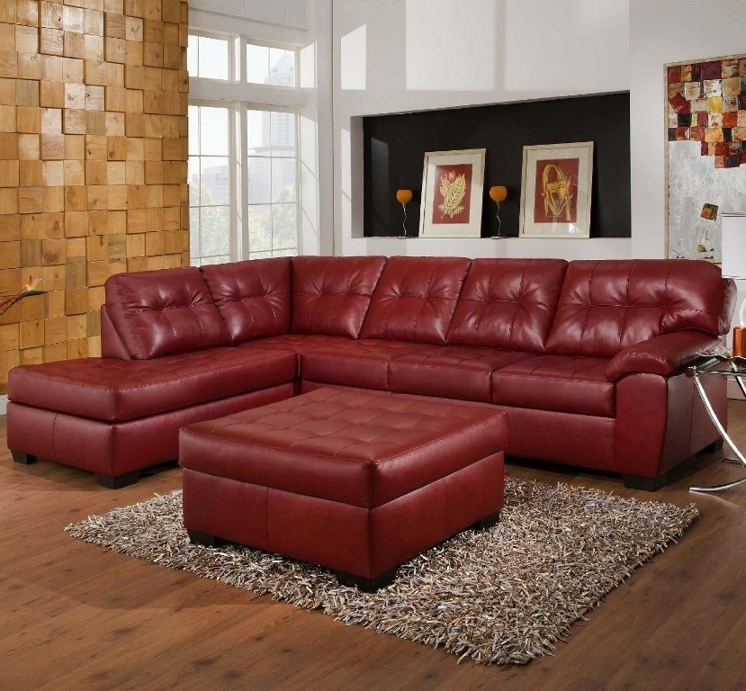 Widely Used Red Leather Sectional Sofas With Ottoman Regarding Captivating Small Red Leather Sectional Sofa And Ottoman Table (View 9 of 10)