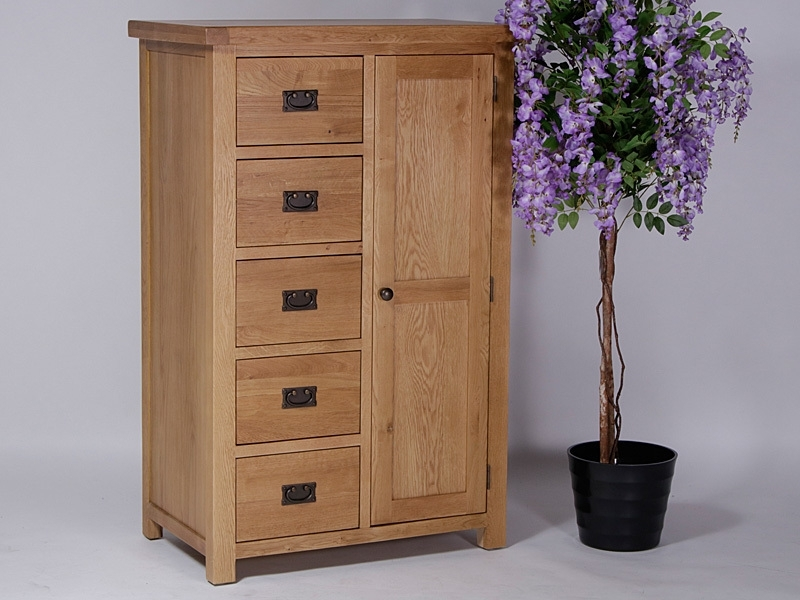 Widely Used Rustique Country Oak Wardrobe, Short Combo With Door And 5 Drawers With Regard To Wardrobes And Drawers Combo (View 15 of 15)