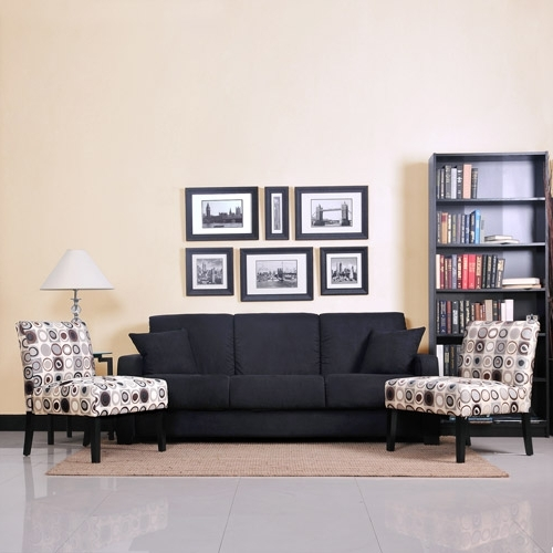 Widely Used Sofa And Accent Chair Sets Intended For Tahoe Black Convert A Couch Sofa Sleeper And Set Of 2 Accent (View 8 of 10)