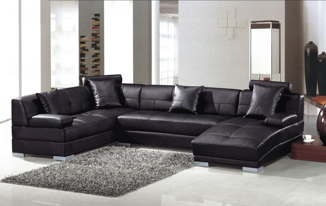 Widely Used U Shaped Leather Sectional Sofas Regarding U Shaped Spacious Black Leather Sectional Sofa Texas – $2, (View 10 of 10)