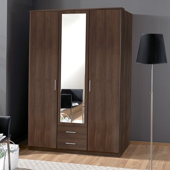 Widely Used Wardrobes 3 Door With Mirror Intended For Octavia Mirror Wardrobe In Walnut With 3 Doors And  (View 15 of 15)