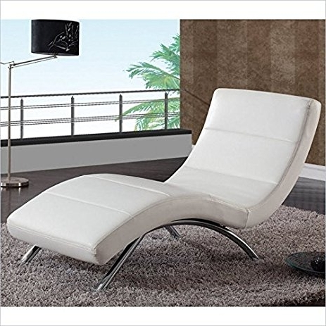 Widely Used White Chaise Lounges With Amazon: Global Furniture Ultra Bonded Leather/metal Chaise (View 2 of 15)