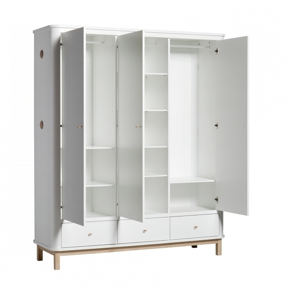 Wood Wardrobe 3 Doors – White/oak – Oliver Furniture Inside Popular White 3 Door Wardrobes (View 15 of 15)
