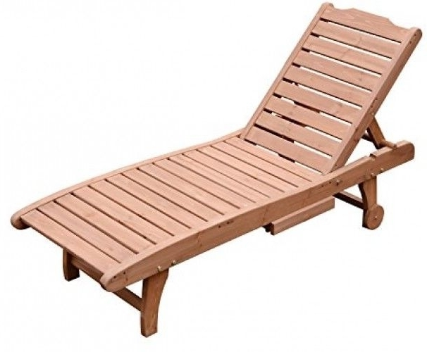 Wooden Outdoor Chaise Lounge Chairs With Regard To Recent Outsunny Wooden Outdoor Chaise Lounge Patio Pool Recliner Chair W (View 15 of 15)