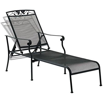 Wrought Iron Chaise Lounges Inside 2017 Amazon: Mainstays Jefferson Wrought Iron Chaise Lounge, Black (View 14 of 15)