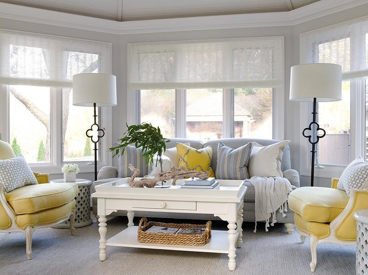 Yellow Sofa Chairs Regarding Recent Yellow And Gray Sunroom With Suzanne Kasler Quatrefoil Floor Lamps (View 9 of 10)