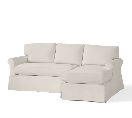 York Roll Arm Slipcovered Sofa With Chaise Sectional (View 15 of 15)