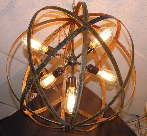 13 Best Metal Sphere Hanging Lights With Thomas Edison Bulbs Images Inside Fashionable Metal Sphere Chandelier (Gallery 3 of 10)