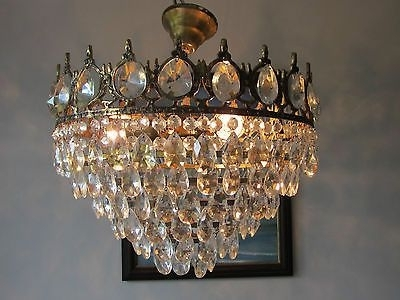 "15.74"" Antique French Style Low Ceiling Lead Crystal Chandelier For Most Up To Date Lead Crystal Chandelier (Gallery 7 of 10)"