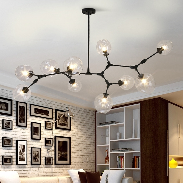 2017 Black/gold Glass Ball Branching Drop Hanging Light Lindsey Adelman In Modern Glass Chandeliers (View 7 of 10)
